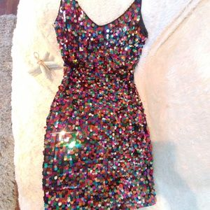 Oleg Cassini Multicolor Sequin Cocktail BlackTie